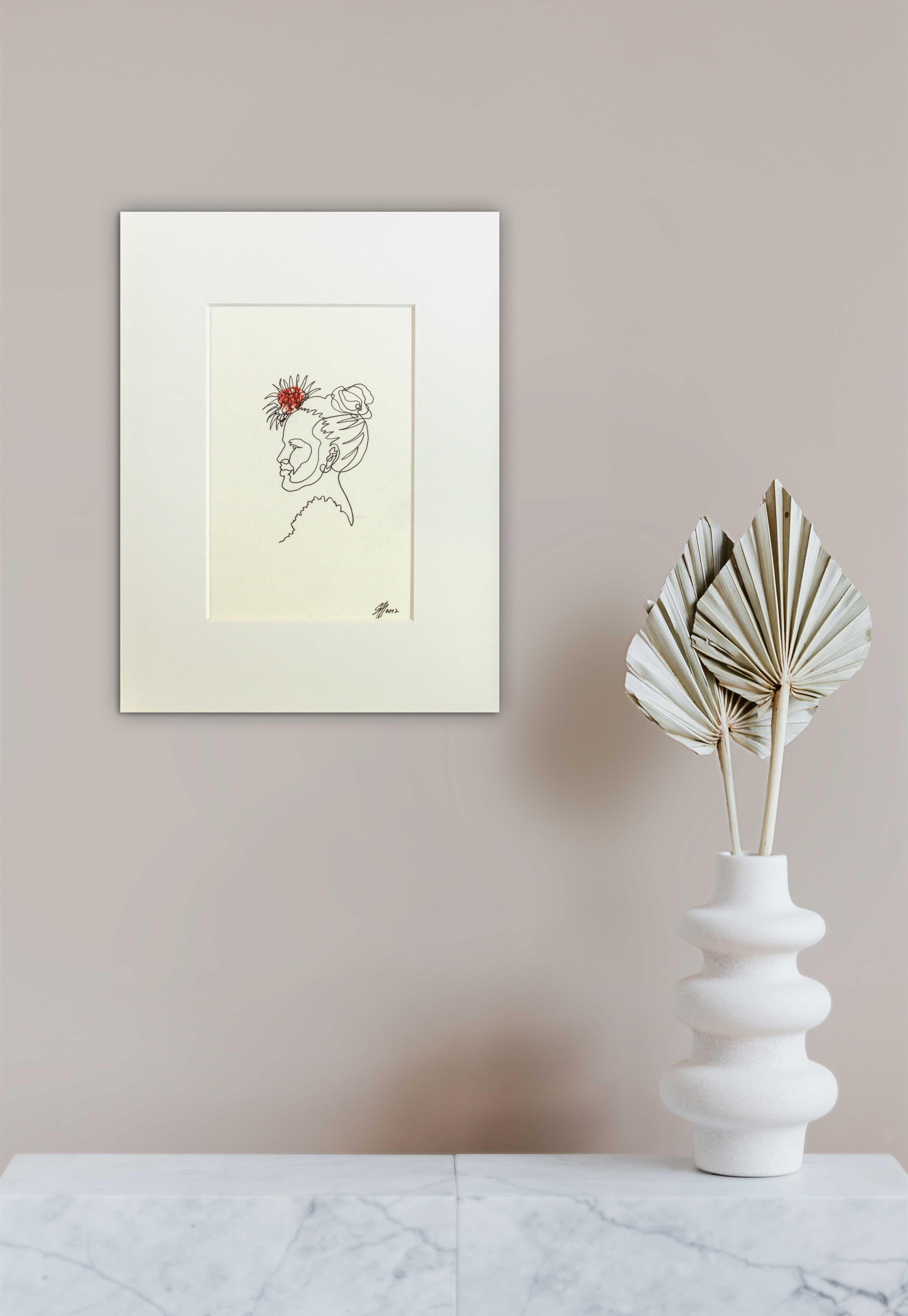 Ohne Titel (Die Dame mit roter Blume)